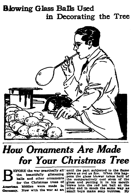 An article about Christmas tree decorations, Plain Dealer newspaper article 14 December 1919