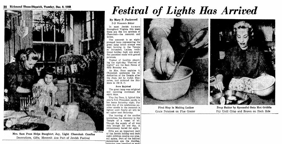 An article about Hanukkah and latkes, Richmond Times Dispatch newspaper article 9 December 1958
