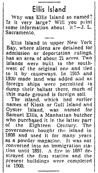 An article about Ellis Island, Sacramento Bee newspaper article 16 July 1943