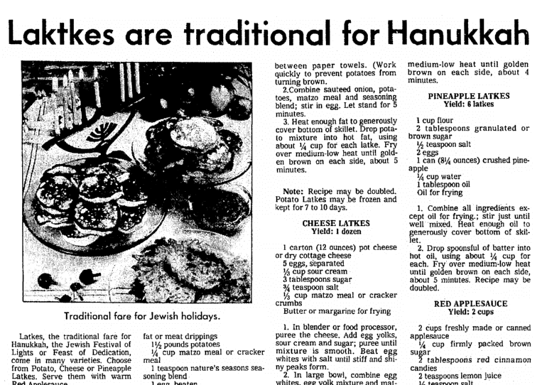An article about Hanukkah and latkes, Seattle Daily Times newspaper article 20 December 1978