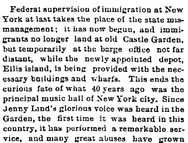 An article about Castle Garden and Ellis Island, Springfield Republican newspaper article 21 April 1890