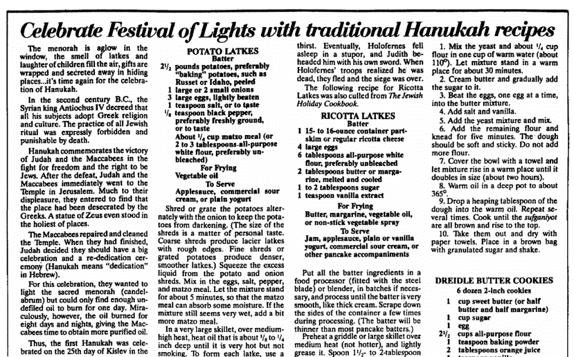 An article about Hanukkah and latkes, St. Albans Daily Messenger newspaper article 7 December 1988