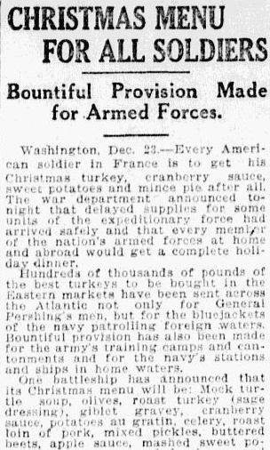 An article about the Christmas menu for soldiers during WWI, State newspaper article 24 December 1917