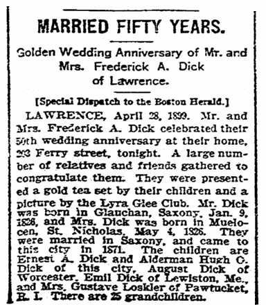 An article about the Dick's 50th wedding anniversary, Boston Herald newspaper article 29 April 1899