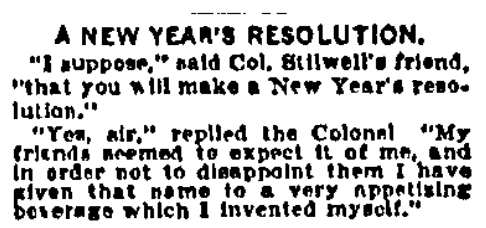 An article about New Year's resolutions, Boston Journal newspaper article 5 January 1899