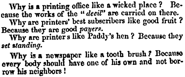 A joke about newspapers, Cabinet newspaper article 4 May 1847