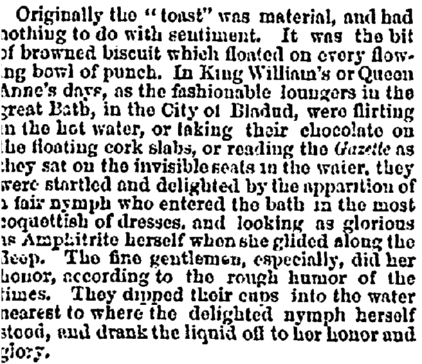 An article about the giving of toasts at gatherings, Commercial Advertiser newspaper article 5 October 1867