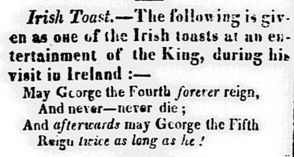 An article about the giving of toasts at gatherings, Concord Observer newspaper article 3 November 1821