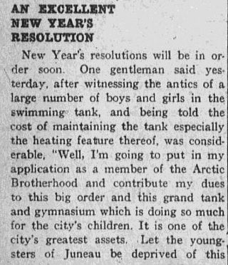 An article about New Year's resolutions, Daily Alaska Dispatch newspaper article 30 December 1916