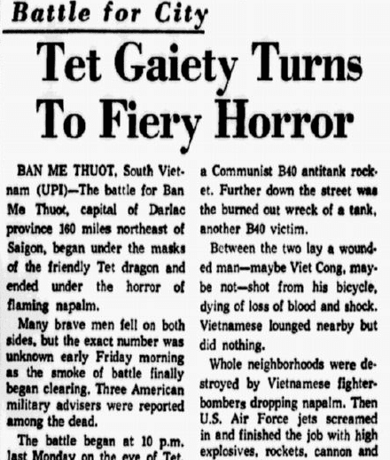 An article about the Tet Offensive during the Vietnam War, Dallas Morning News newspaper article 2 February 1968