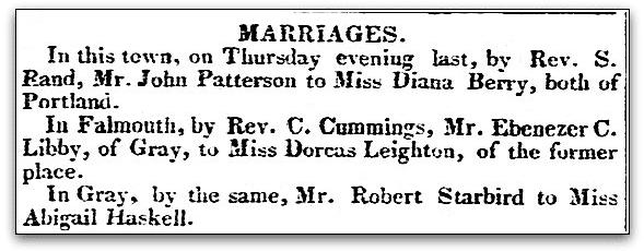 Marriage announcements, Eastern Argus newspaper article 19 August 1828