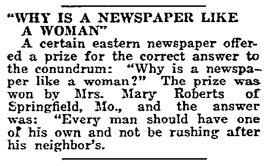 A joke about newspapers, Gulfport Daily Herald newspaper article 9 December 1911
