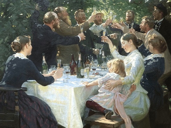"Illustration: ""Hip Hip Hooray! Artist Party at Skagen"" by Peder Severin Krøyer, 1888. Credit: UFA66; Gothenburg Museum of Art; Wikimedia Commons."