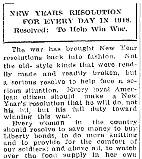 An article about New Year's resolutions, Jackson Citizen Patriot newspaper article 3 January 1918
