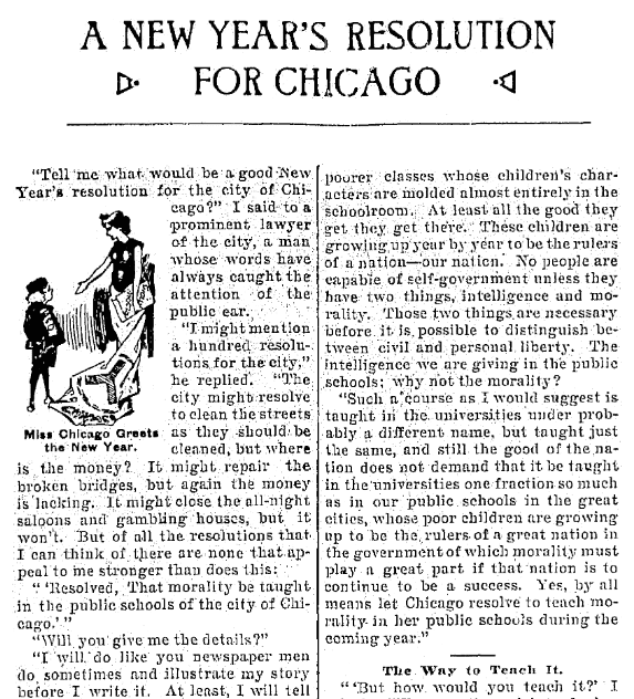 An article about New Year's resolutions, Jackson Citizen Patriot newspaper article 30 December 1899