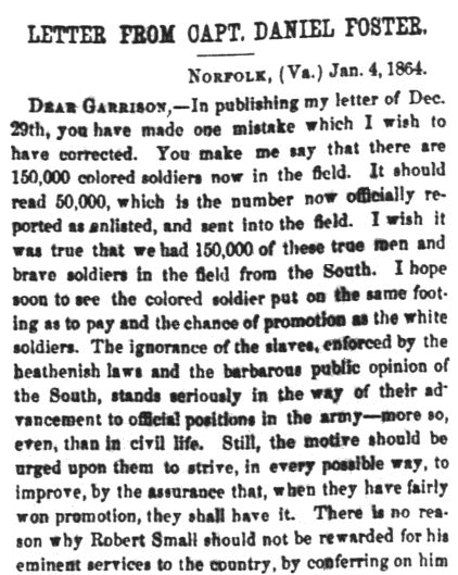 A Civil War letter from Union Captain Daniel Foster, Liberator newspaper article 22 January 1864