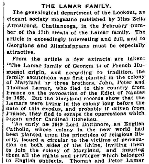 An article about the Lamar family, Macon Telegraph newspaper article 28 February 1917