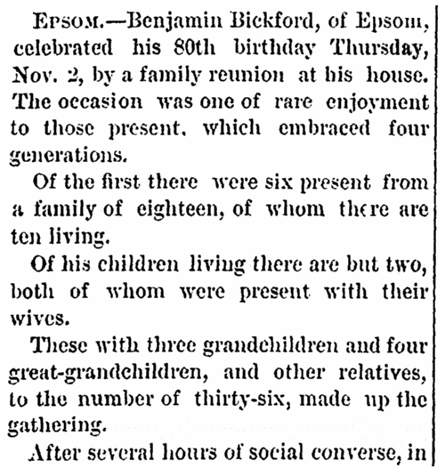 An article about Benjamin Bickford's 80th birthday, Mirror and Farmer newspaper article 11 November 1876