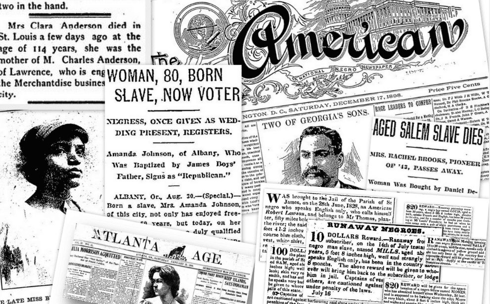 A montage of African American newspapers in GenealogyBank