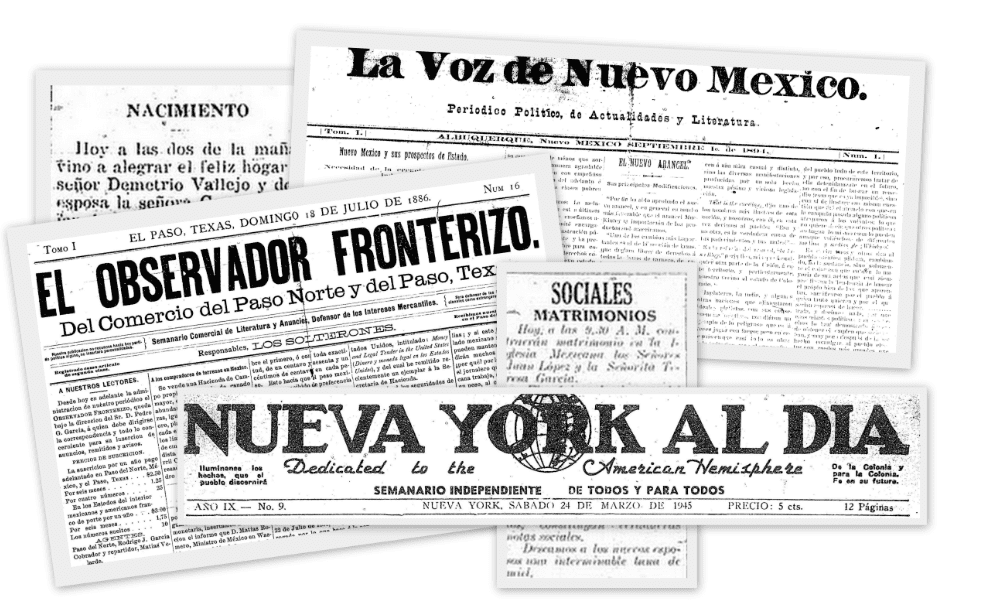 A montage of Hispanic American newspapers in GenealogyBank