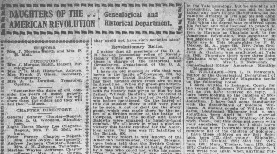 An article about genealogy, Montgomery Advertiser newspaper article 6 October 1901