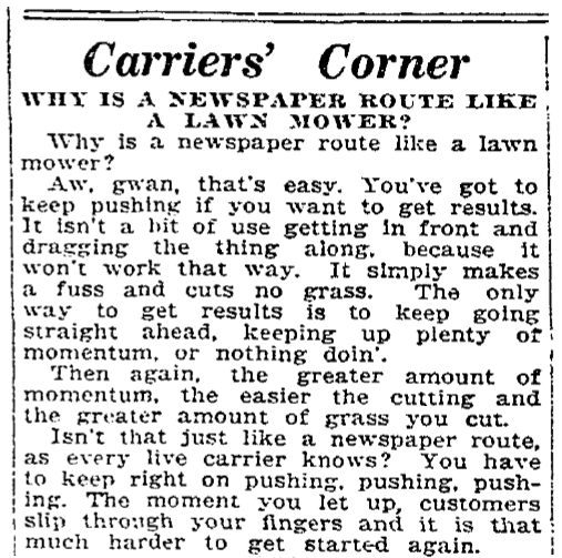 A joke about newspaper routes, Morning Star newspaper article 27 March 1921