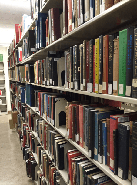 Photo: books at the Tomás Rivera Library, U.C. Riverside, California
