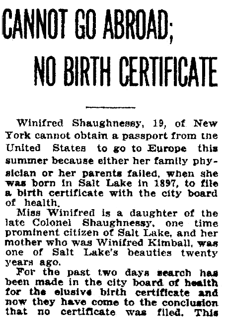 An article about birth certificates, Salt Lake Telegram newspaper article 6 April 1916