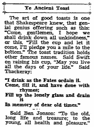 An article about the giving of toasts at gatherings, San Diego Union newspaper article 14 January 1934