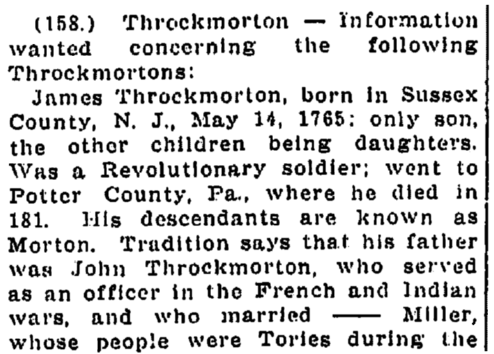 An article about the Throckmorton family, Times-Picayune newspaper article 12 January 1913