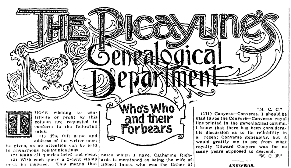 An article about genealogy, Times-Picayune newspaper article 26 January 1913
