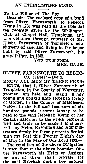An article about Oliver Farnsworth and Rebecca Kemp, Worcester Daily Spy newspaper article 14 June 1903