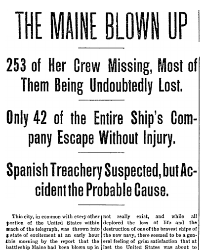 An article about the USS Maine exploding in Havana Harbor, Cuba, on 15 February 1898, Aberdeen Daily News newspaper article 16 February 1898