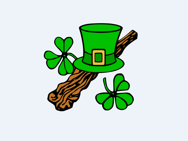 Illustration: Irish hat and shillelagh.