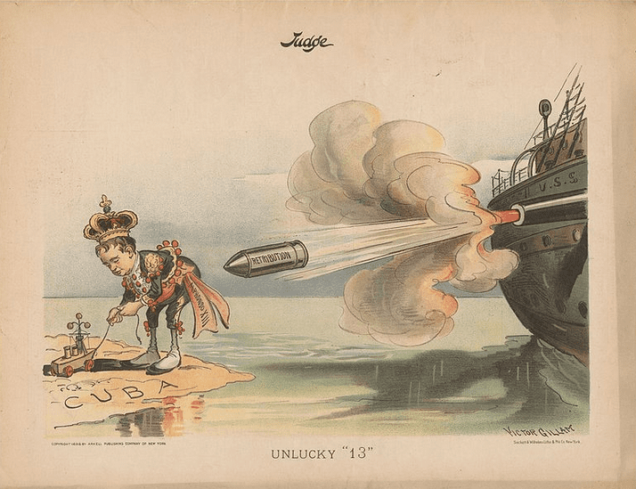 Illustration: this cartoon followed the explosion of the battleship USS Maine in Havana Harbor, Cuba, on 15 February 1898