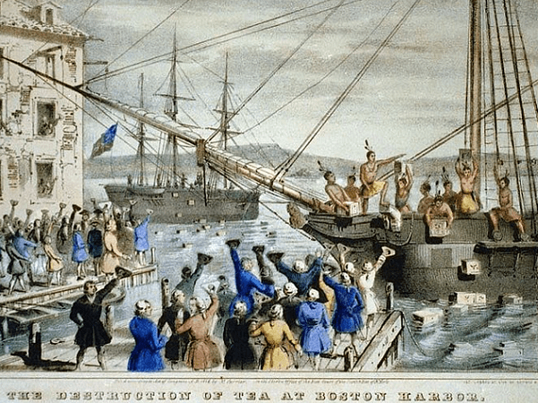 "Illustration: detail of ""The Destruction of Tea at Boston Harbor"" by Nathaniel Currier, 1846. Credit: Wikimedia Commons."