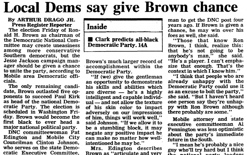 "An article about Ronald Harmon ""Ron"" Brown, Mobile Register newspaper article 10 February 1989"