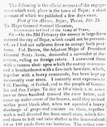 A letter sent from the Alamo by William Barret Travis, National Banner and Daily Advertiser newspaper article 1 April 1836