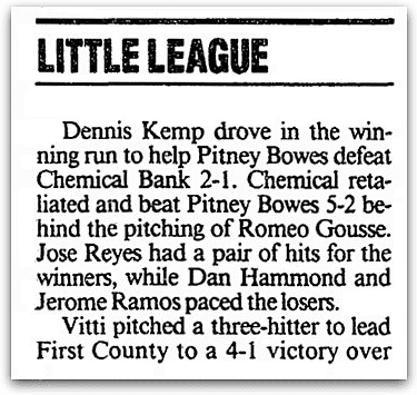 An article about Little League baseball, Stamford Advocate newspaper article 5 June 1994