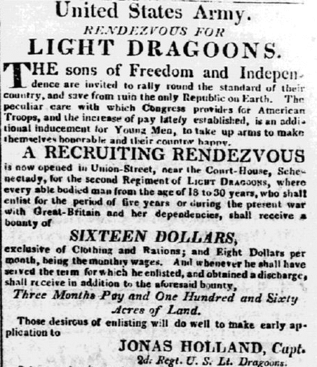 A recruiting ad for the War of 1812, Cabinet newspaper advertisement 6 January 1813