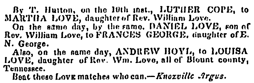 An article about the three marriages of the Love siblings, Centinel of Freedom newspaper article 26 April 1842