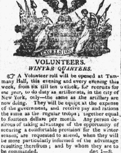 A recruiting ad for the War of 1812, Columbian newspaper advertisement 5 December 1812
