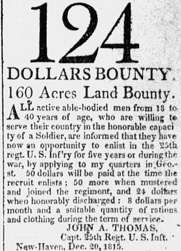 A recruiting ad for the War of 1812, Columbian Register newspaper advertisement 3 January 1815