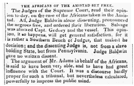 An article about the slave revolt on board the Amistad, Connecticut Courant newspaper article 13 March 1841