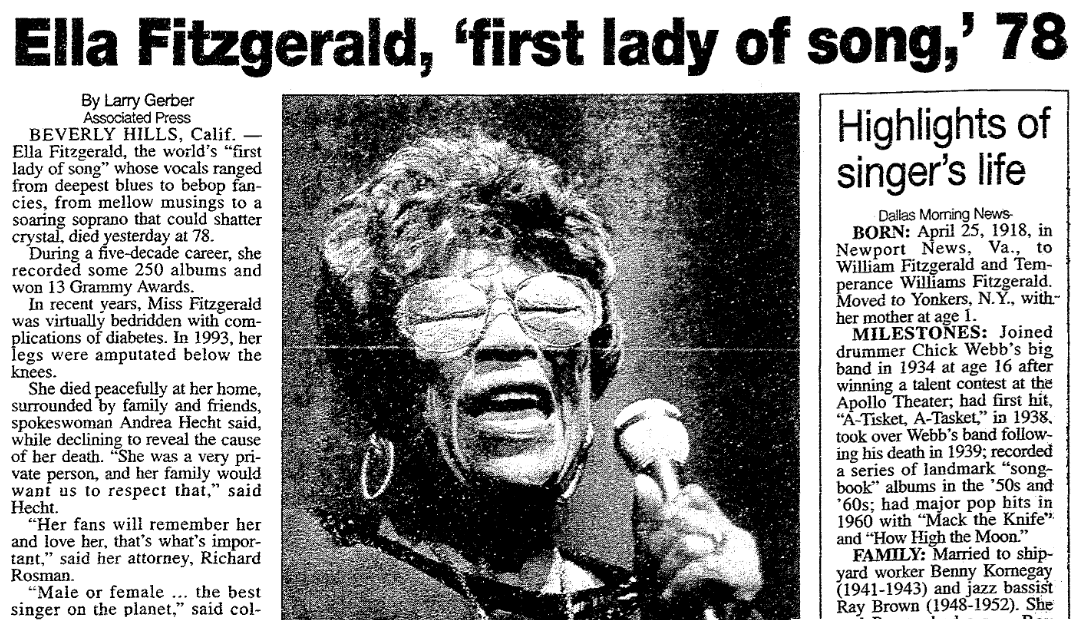Image result for ella fitzgerald died