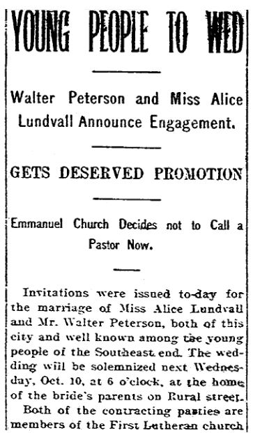 An engagement announcement for Walter Peterson and Alice Lundvall, Daily Register-Gazette newspaper article 2 October 1900