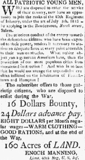 A recruiting ad for the War of 1812, Essex Register newspaper advertisement 1 January 1814