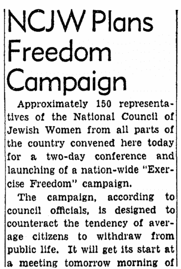 An article about the National Council of Jewish Women, Evening Star newspaper article 19 February 1952