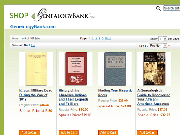 A screenshot of the homepage for GenealogyBank's online store