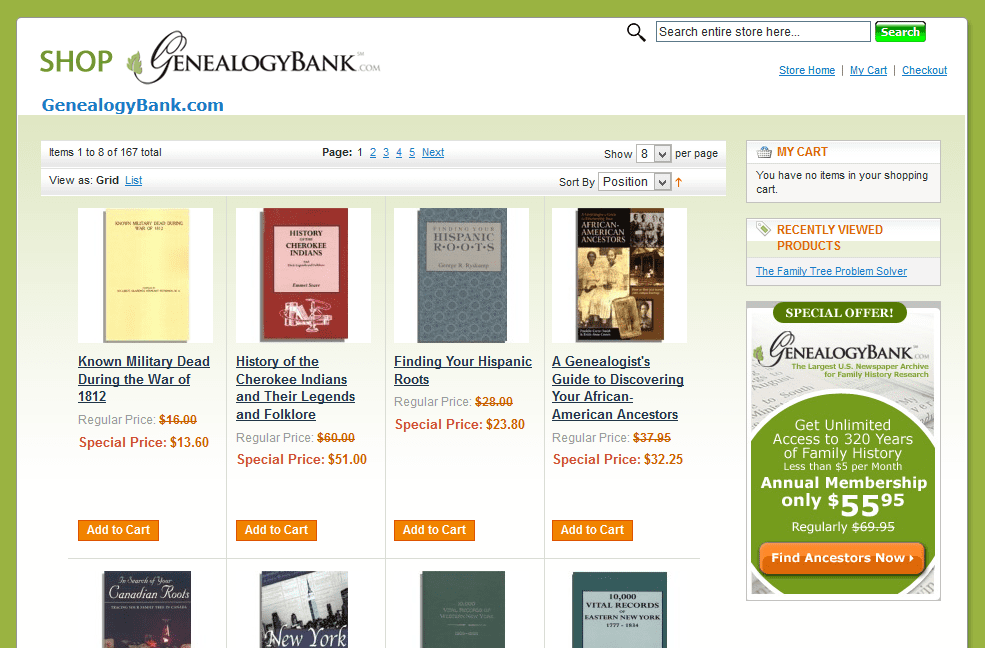 A screenshot of the homepage for GenealogyBank's store